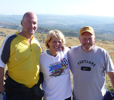Adrienne with Tom on left and Jim on right. This was at the Ruins of Acinipo in Southern Spain