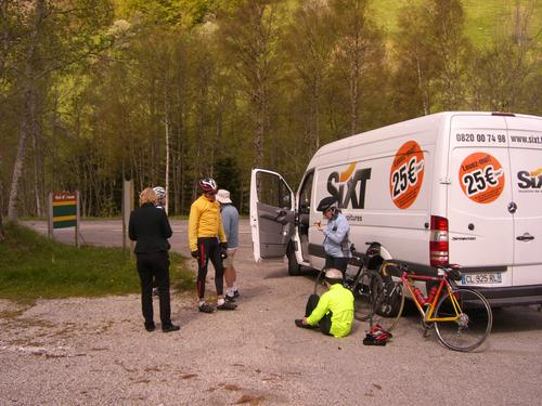 It was blustery enough that some of us took to hiding behind our jumbo van when we stopped.