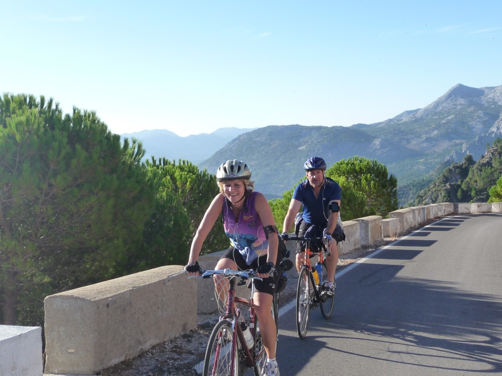 Adrienne followed by Tom on the way out of Grazalema.